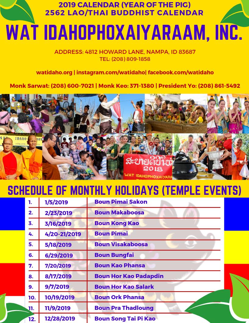 Temple Calendar 2019 2019 Temple Events Calendar   Wat Idahophoxaiyaraam